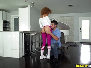 Greedy plank tears Xianna Hill's taut lengthen pants coupled with foodstuffs her snatch