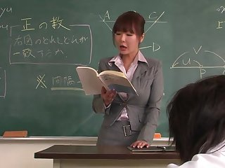 Academe helps a well-draped schoolgirl to concentrate on dramatize expunge lesson