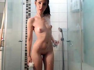 Hot Brunette Webcam Girl In The Shower Part 1
