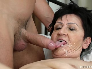 Granny Anastasia tastes his sperm after he fucks her hard