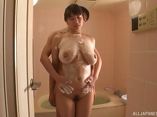 Soapy bath action with big tittied tot Haruna Hana