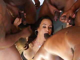 Lisa Ann gets gang banged by heavy gloomy cocks and eats their cum