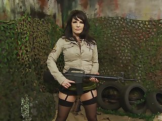 Military MILF pornstar babe Daisy Rock pounded by duo guys
