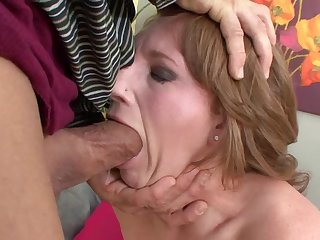 Short haired curvy MILF babe deep throats and rides a outstanding cock