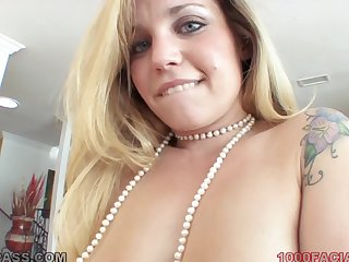 Cute pock-marked nose aloft a naughty blonde cocksucker