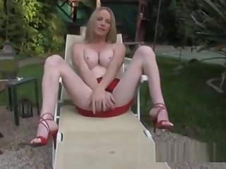 blond shemale Laura Stroking Outside