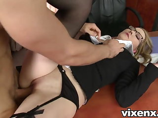 Bad secretary punished with caning and anal sex