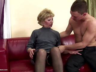 Hairy of age mom ass fucked with the addition of pissed on