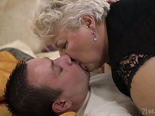Big full-grown blonde whore in black tights Astrid gives unreservedly nice BJ