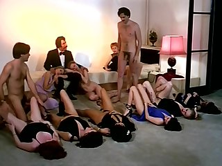 Vintage sex orgy action back horny company of girls