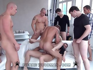 Youthfull Russian Reprobate Gets Group-Fucked By Eight Evil Pervs