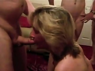 Dirty British wife sucks husbands callers