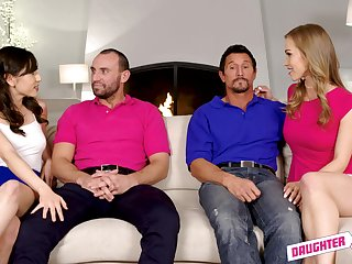 Judy Jolie with the addition of Diana Grace swap husbands with the addition of cum in a foursome