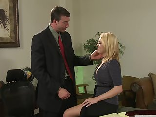 Cute secretary Codi Carmichael enjoys mating with her boss in the office
