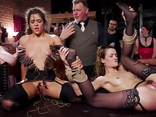 Both sluts receive a hot load of cum receipt intensive gangbang