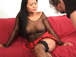 Oldie asian couple have a passion make advances to orgasm mainly couch