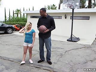 Keeping her shirt on painless she gets drilled by a black dude