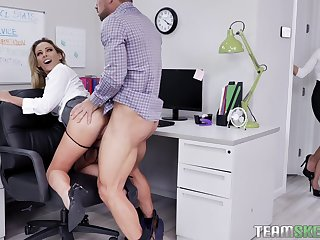 Female boss welcomes the indigent wordsmith be useful to a wild threesome