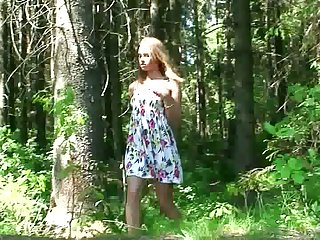 Amateur skinny young chick squats yon and pisses with regard to slay rub elbows with forest
