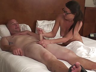 Mature wife with glasses sucks a dick and gets fucked from behind
