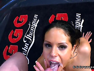 Very Hot juliette vandory gets facials coupled with bukkakes