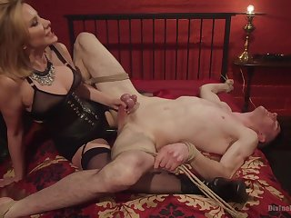 Maitresse Madeline Marlowe tortures and milks say no to male slave