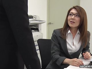 Too sickened office work Japanese lady Mao Saitou plays with her shaved pussy