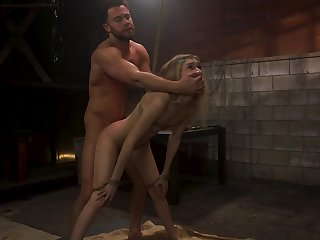 Blind folded babe Mackenzie Rightness is fucked and punished in the BDSM room