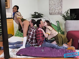 Two studs give sexy Girl Scouts Kamryn Jayde and Jada Kai a valuable lesson