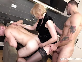 Debauched a bit chubby blonde grown-up whore gives BJs to strong studs