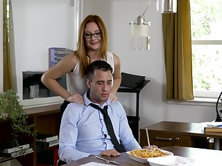 Office MILF wants slay rub elbows with new guy's dick before going home