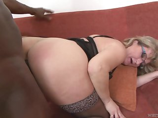 Mature PAWG Aja C takes cumshots on glasses tick hardcore sex with young black impoverish