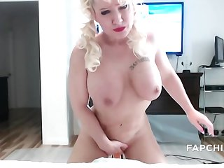 Hot blond wife rides a torso huge dick