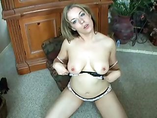 Unexcelled toy addicted chubby lady with big boobies masturbates herself