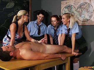 Young schoolgirls are keen hither learn new porn skills
