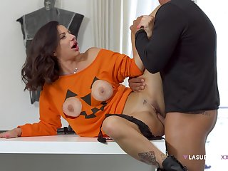 Priscilla Salerno's cute knockers sky pilot glory in a Halloween top winning making love