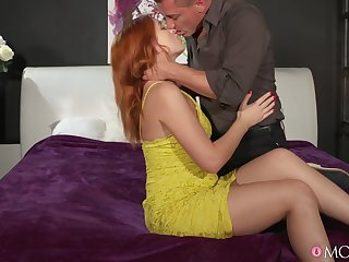 Redhead cutie moans with respect during passionate going to bed