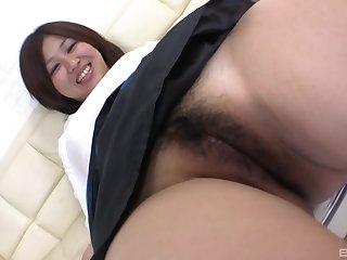 Cum loving Japanese babe Mina Kawaii moans while riding a cock
