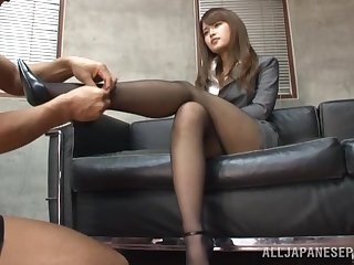 Office babe from Japan in insane XXX couch porn